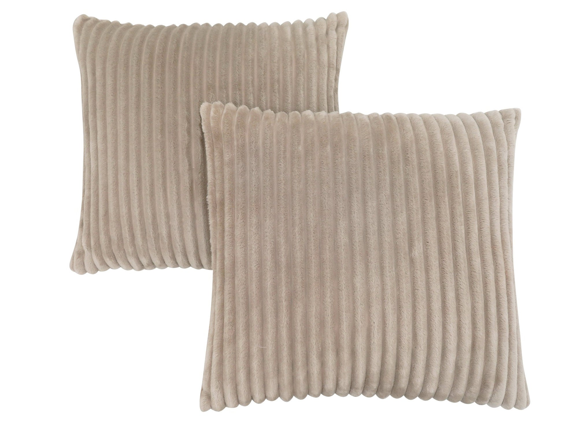 "18"" x 18"" Beige, Ultra Soft Ribbed Style - Pillow 2pcs"