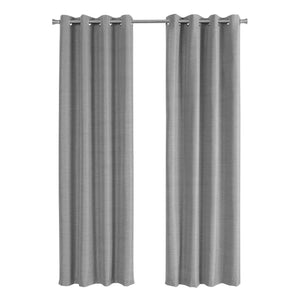 "52"" x 95"" Grey, Solid Blackout - Curtain Panel 2pcs"
