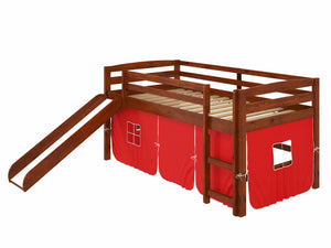 "41"" X 81"" X 46"" Chocolate Solid Pine Red Tent Loft Bed with Slide and Ladder"