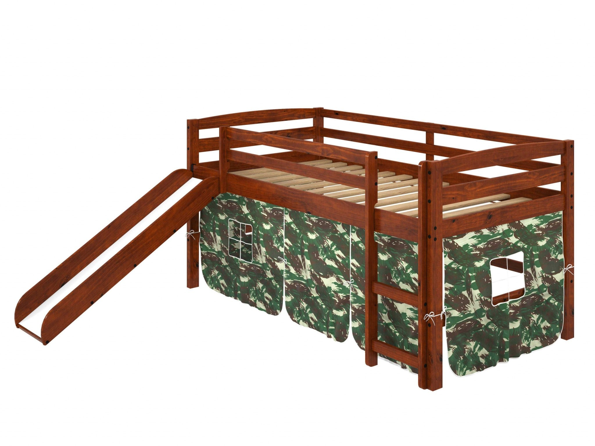 "41"" X 81"" X 46"" Chocolate Solid Pine Camo Tent Loft Bed with Slide and Ladder"