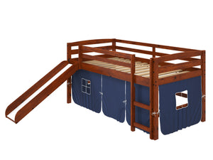 "41"" X 81"" X 46"" Chocolate Solid Pine Blue Tent Loft Bed with Slide and Ladder"