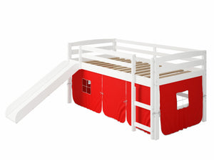 "41"" X 81"" X 46"" White Solid Pine Red Tent Loft Bed with Slide and Ladder"