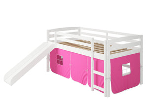 "41"" X 81"" X 46"" White Solid Pine Pink Tent Loft Bed with Slide and Ladder"