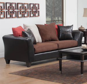 "83"" X 33"" X 37"" Jefferson Sierra Chocolate 100% PU, 100% Polyester Microfiber Sofa"