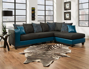 "107"" X 76"" X 37"" Tampa Teal 100% Polyester - 100% PU (polyurethane) Sectional"
