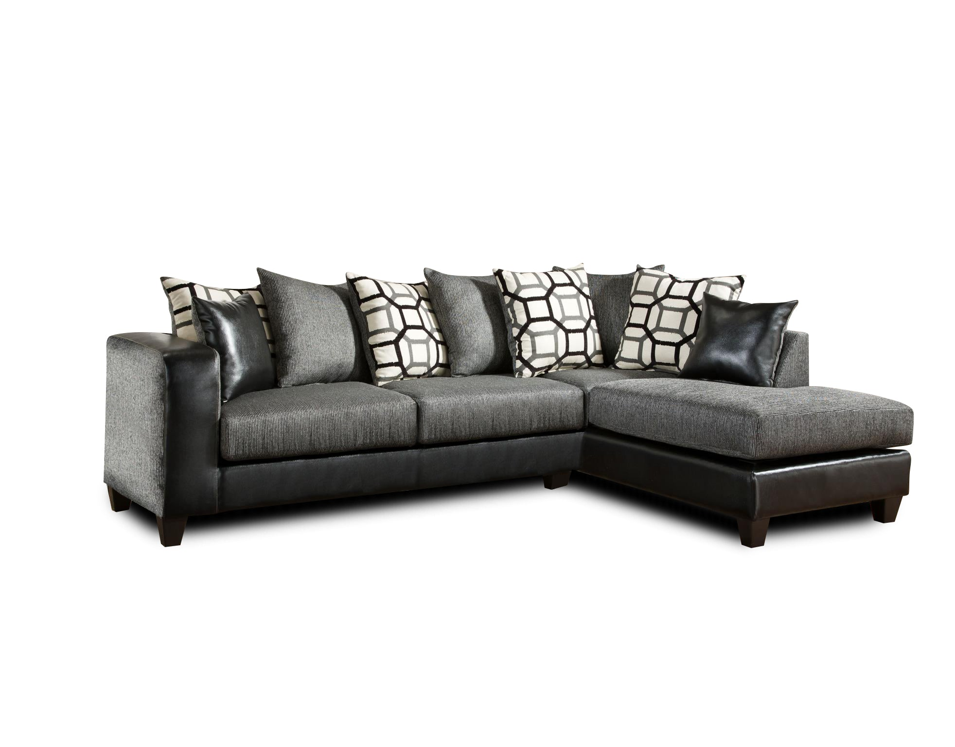 "110"" X 73"" X 37"" Object Charcoal Dempsey Blacke 100% Polyester Sectional"
