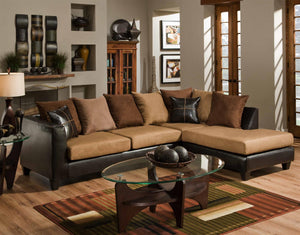 "111"" X 71"" X 37"" Jefferson Chocolate Sierra Camel 100% PU, 100% polyester Microfiber Sectional"