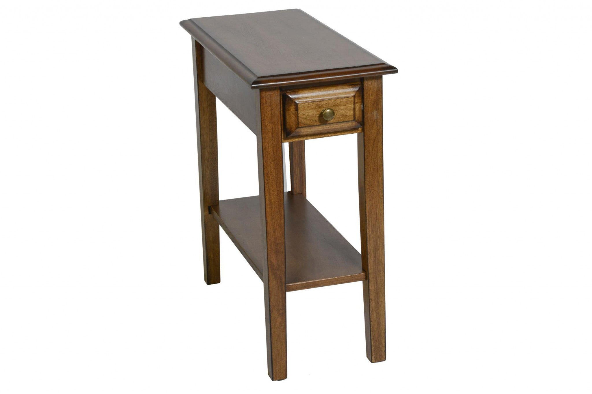 "23"" X 11"" X 24"" Burnished Walnut Hardwood Rectangular End Table With Drawer"