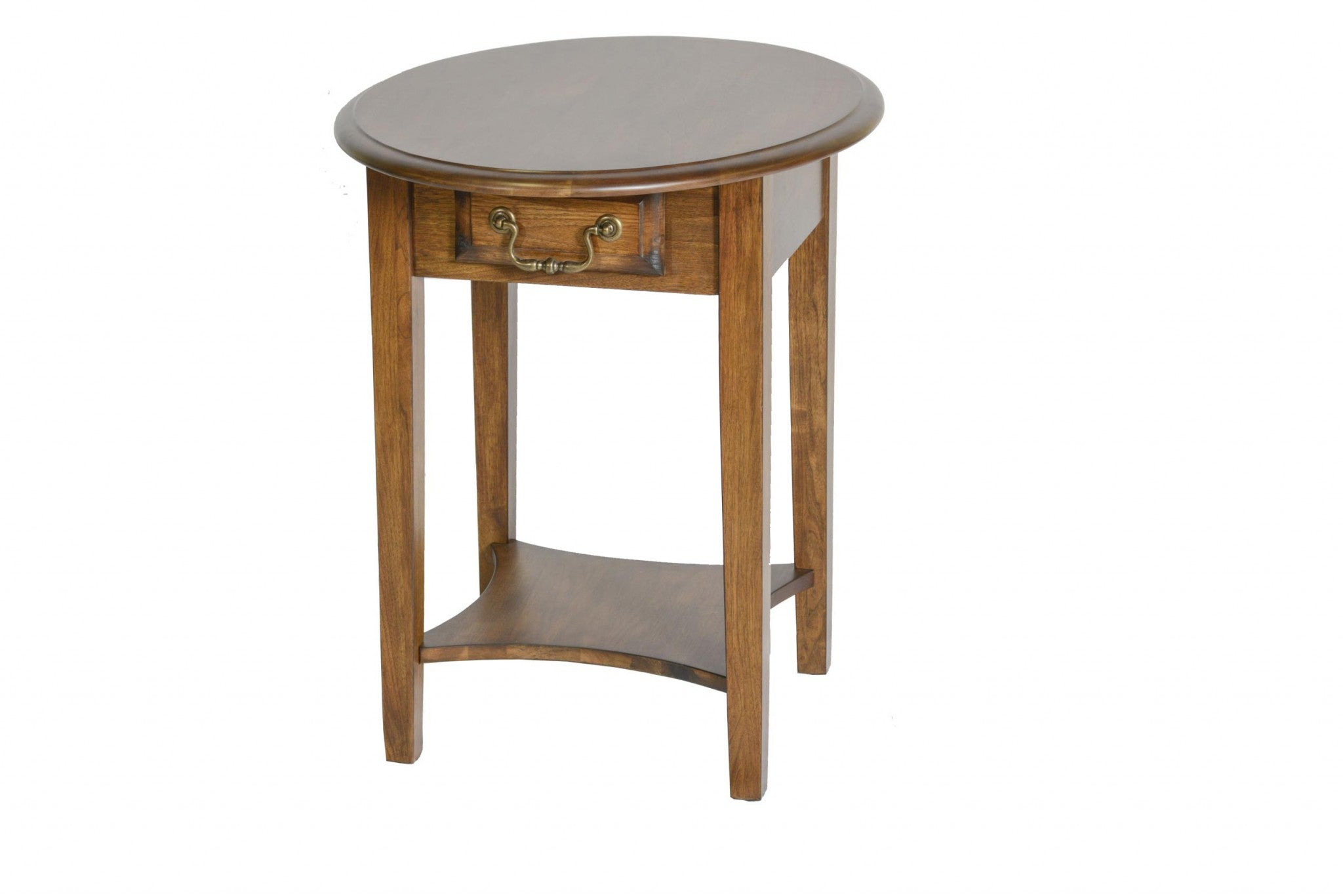"26"" X 20"" X 24"" Burnished Walnut Hardwood Rounded End Table With Drawer"