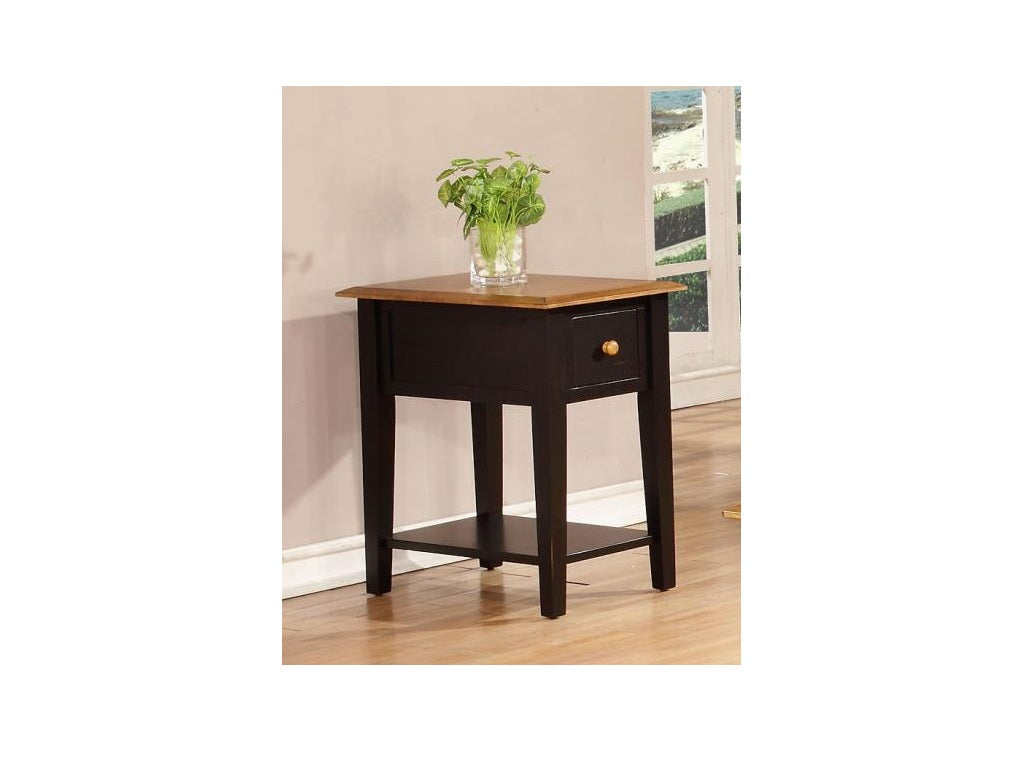 "16"" X 24"" X 25"" Harvest Black Hardwood End Table"