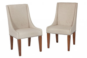 "22"" X 27"" X 40"" Tobacco Upholstered with wood trim Set of Two Chairs"