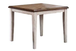 "36"" X 36"" X 30"" Walnut Antique White Finish Rubberwood Hardwood Square Table"