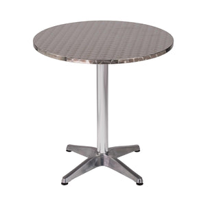 "27.5"" X 27.5"" X 28"" Silver Stainless Steel Round Bistro Table with Aluminum Base"
