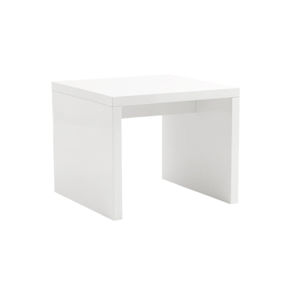 "23.63"" X 23.63"" X 20.08"" High Gloss White Lacquered MDF Square Side Table"