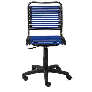 "18.12"" X 24"" X 37.21"" Blue Flat Bungie Cords Low Back Office Chair with Graphite Black Frame and Base"