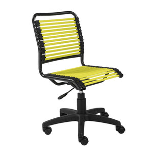 "18.12"" X 24"" X 37.21"" Green Flat Bungie Cords Low Back Office Chair with Graphite Black Frame and Base"