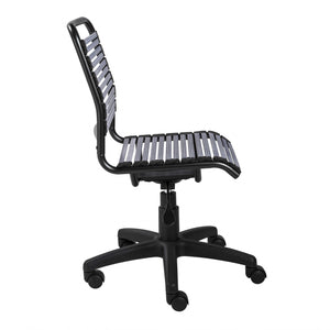 "18.12"" X 24"" X 37.21"" Light Gray Flat Bungie Cords Low Back Office Chair with Graphite Black Frame and Base"