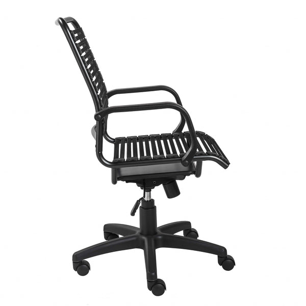 "23.04"" X 25.6"" X 41.74"" Black Flat Bungie Cords High Back Office Chair with Graphite Black Frame and Base"