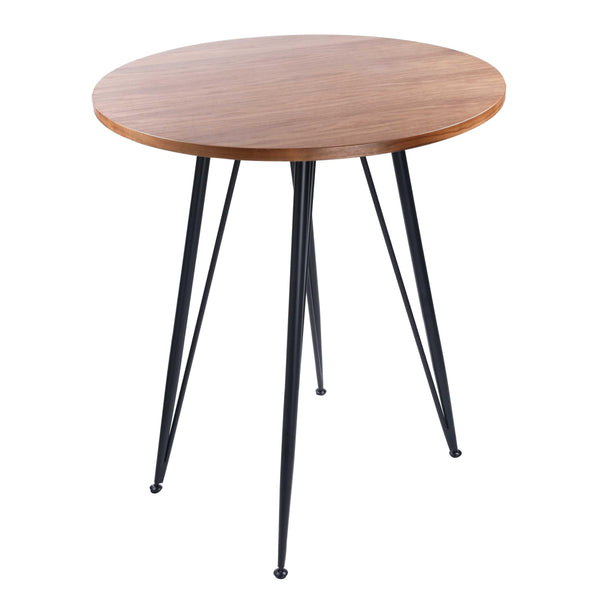"35.44"" X 35.44"" X 41.15"" American Walnut Veneer over MDF Round Bar Table with Black Powder Coated Steel Legs"