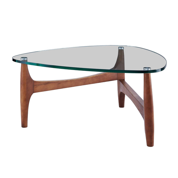 "35.44"" X 35.44"" X 15.75"" Clear Tempered Glass Coffee Table with Walnut Base"