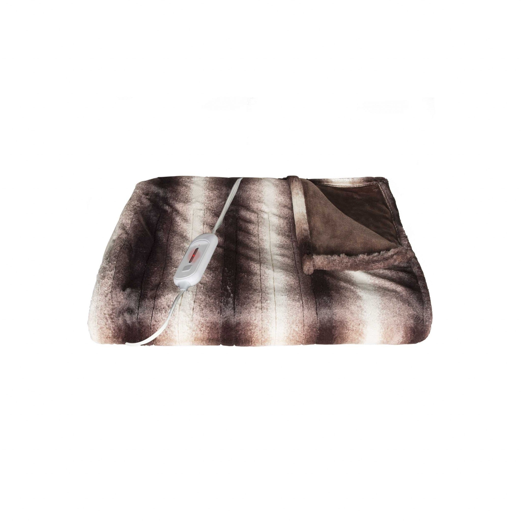 "50"" x 60"" Brown & White Modern-Contemporary Heated - Throw Blankets"
