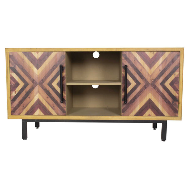"47'.25"" X 15'.75"" X 25'.25"" Brown MDF Contemporary Wooden Media Console Cabinet"