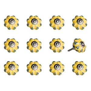 "1.5"" x 1.5"" x 1.5"" Ceramic-Metal Yellow & Green 12 Pack Knob"