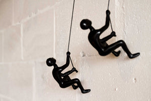 "6"" x 3"" x 3"" Resin Black 2 Pack Climbing Man"