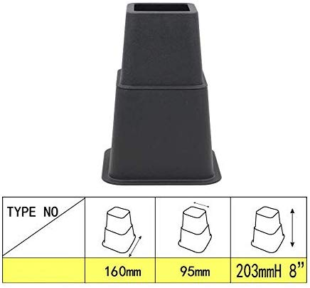 "3"" , 5"" or 8"" Black, Adjustable Bed Furniture Legs, Heavy Duty Plastic - Bed Risers Set of 4"