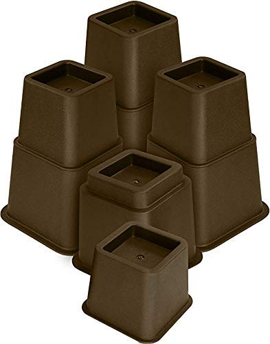 "3"" , 5"" or 8"" Brown, Adjustable Bed Furniture Legs, Heavy Duty Plastic - Bed Risers Set of 4"