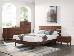 "77.2"" x 92.1"" x 39.55"" California King Platform Bed, Oiled Walnut"