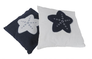 "16.5"" x 16.5"" x 5"" White-Blue -Pillow with Star"