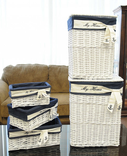 "14"" x 17.5"" x 19.5"" White, Blue, Rectangular, Willow - Basket Set of 5"