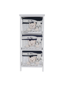 "12.5"" x 16"" x 35.5"" White, Blue - Portable 3 Drawers"