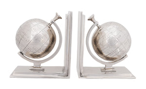 "4.5"" x 6.75"" x 7.75"" Alum Globe - Bookend Set Of Two"