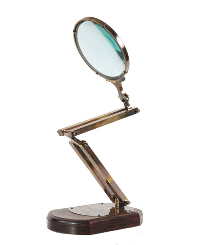 "7.5"" x 14.5"" x 28"" Brass Big Magnifier Glass With Wooden Base"