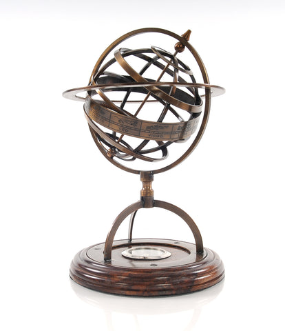 "7"" x 7"" x 11"" Brass Armillary With Compass On Wood Base"