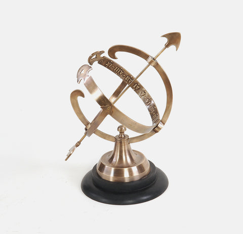 "8"" x 10"" x 14.25"" Brass Armillary On Wooden Base"