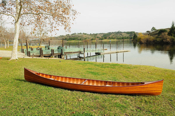 "35.5"" x 216"" x 27"" Wooden Canoe with Ribs"