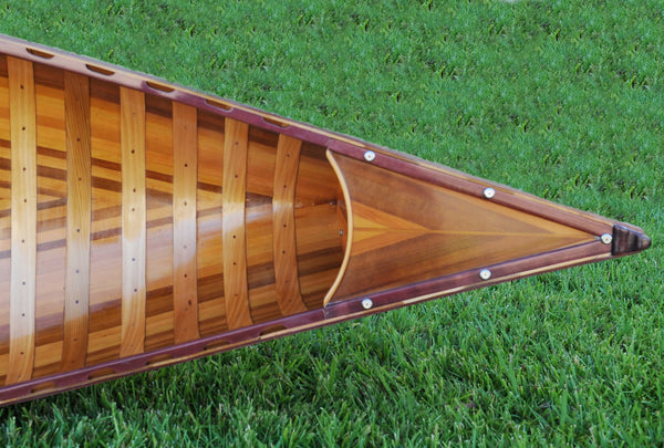 "26.5"" x 117"" x 20"" Red Wooden Canoe With Ribs Curved Bow"