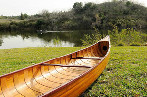 "31.5"" x 187.5"" x 24"" Wooden Canoe with Ribs"