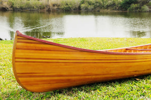 "28.5"" x 144"" x 21"" Wooden Canoe With Ribs Curved Bow"
