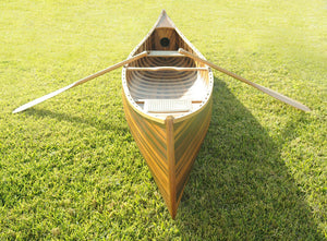 "28.5"" x 144"" x 21"" Matte Finish, Wooden Canoe With Ribs Curved Bow"