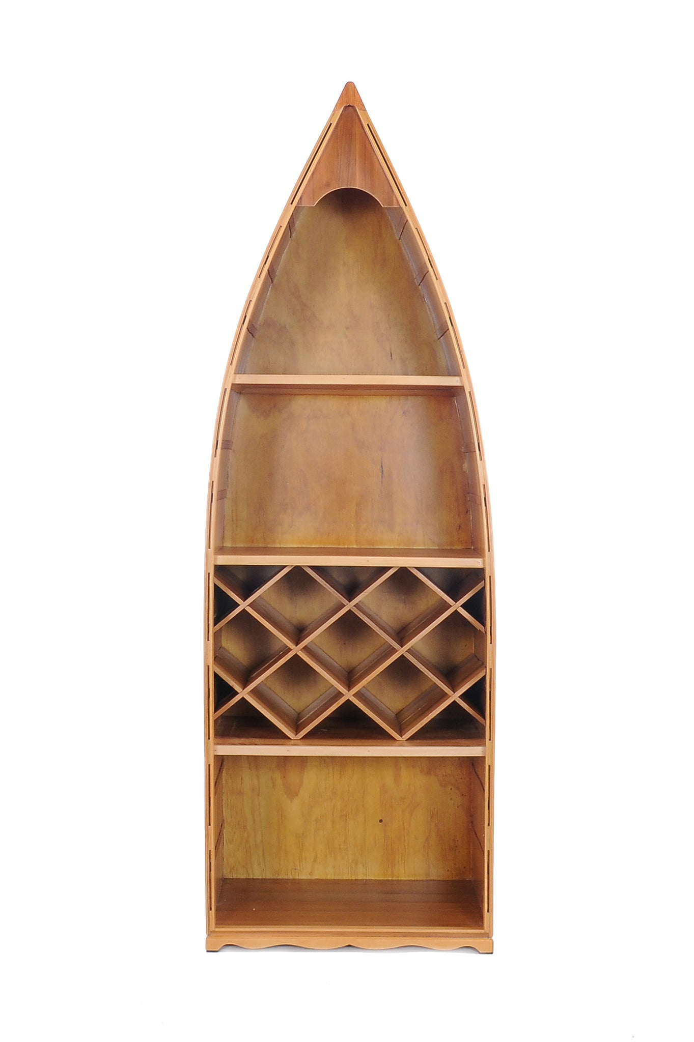 "24.5"" x 74"" x 12.5"" Wooden Canoe Wine Shelf"