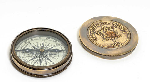 "3"" x 3"" Makers to the Queen Compass with Leather Case"