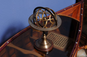 "7"" x 7"" x 11.5"" Armillary Sphere on Wood Base"