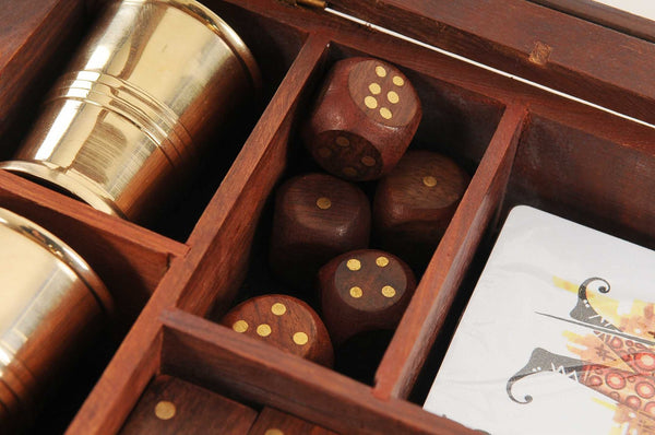 "5.25"" x 8"" x 2.5"" Wooden Game Set with Brass Goblet"