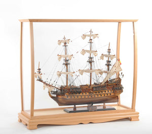 "13"" x 36"" x 31.5"" Display Case for Midsize Tall Ship Clear Finish"