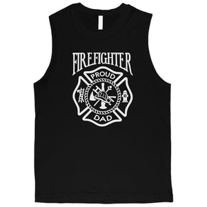Firefighter Dad Mens All American Cool Proud Muscle Shirt Dad Gift