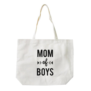 Mom Of Boys Heavy Cotton Natural Canvas Bag Funny Grocery Bag Gifts